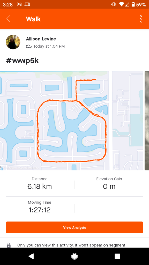 Proof in the Strava app that we walked 5k